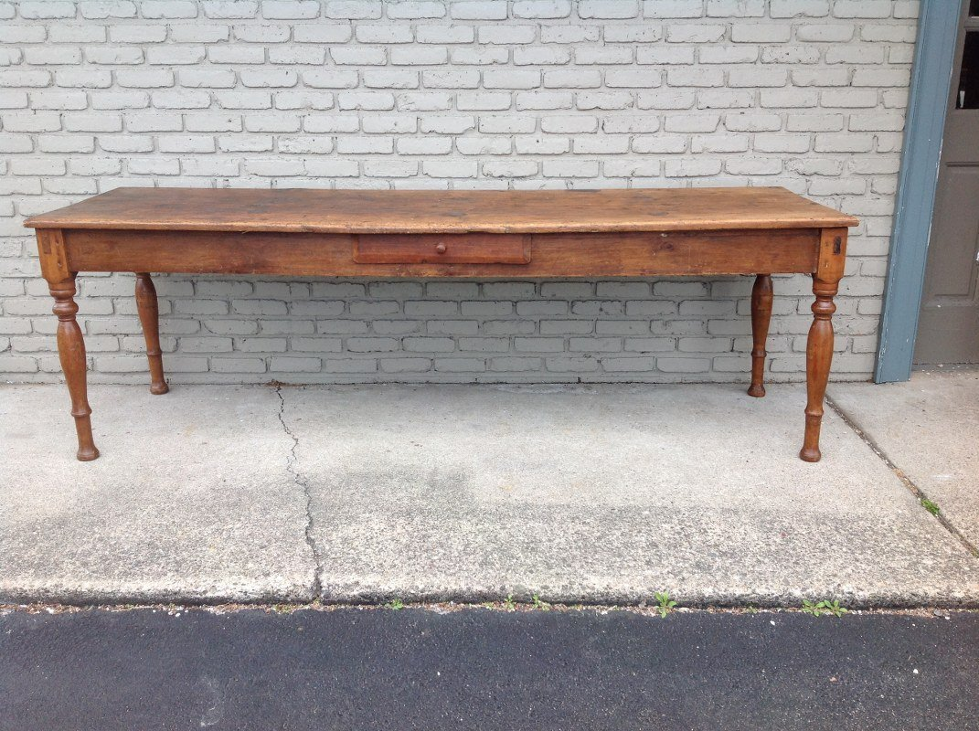 """EARLY 1 DRAWER COUNTRY FARM TABLE, MEASURES 94 3/4"""""""
