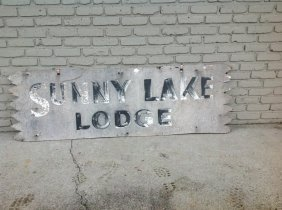 """Sunny Lake Lodge Old Plywood Sign, Measures 72"""" X 23"""","""