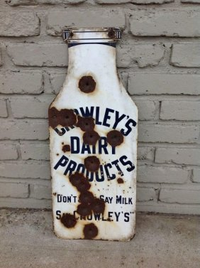 Crowley's Dairy Products Figural Milk Bottle Enamel