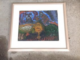 Outsider Art Artist Annie Murray Abstract Gouache On
