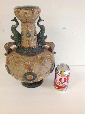 """Wilhelm Schiller 14"""" Majolica Fancy Vase W/ Dolphins Ha"""