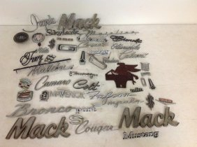 Lot Of Old Car And Truck Nameplates, As Pictured