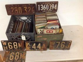 2 Crates Of Older License Plates, From 1930's - 1970's,
