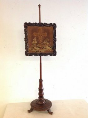 Victorian Rosewood Adjustable Fire Screen W/embroidered