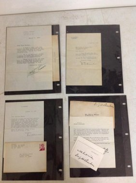 4 Signed Letters Including Dwight D Eisenhower (auto