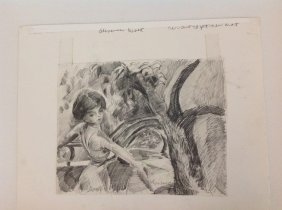 Alexander Brook Pencil Drawing Woman By Trees, Titled