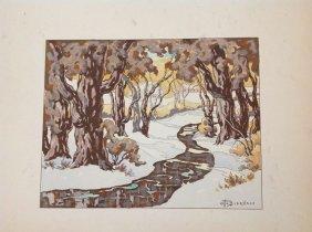 Otto Bierhals Hand Colored Print, Winter Landscape,
