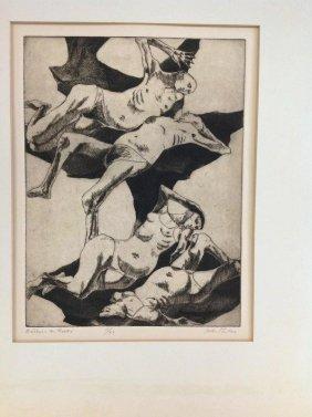 John Fenton Signed Print Titled- Bathers In Rocks,
