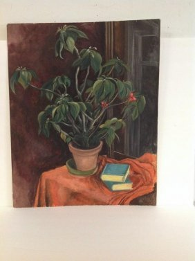 Mearns W/c Still Life Plant In Flower Pot, Signed Lower