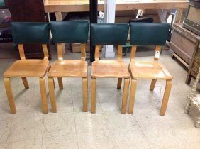 Set 4 Thonet Dining Chairs With Green Padded Original B