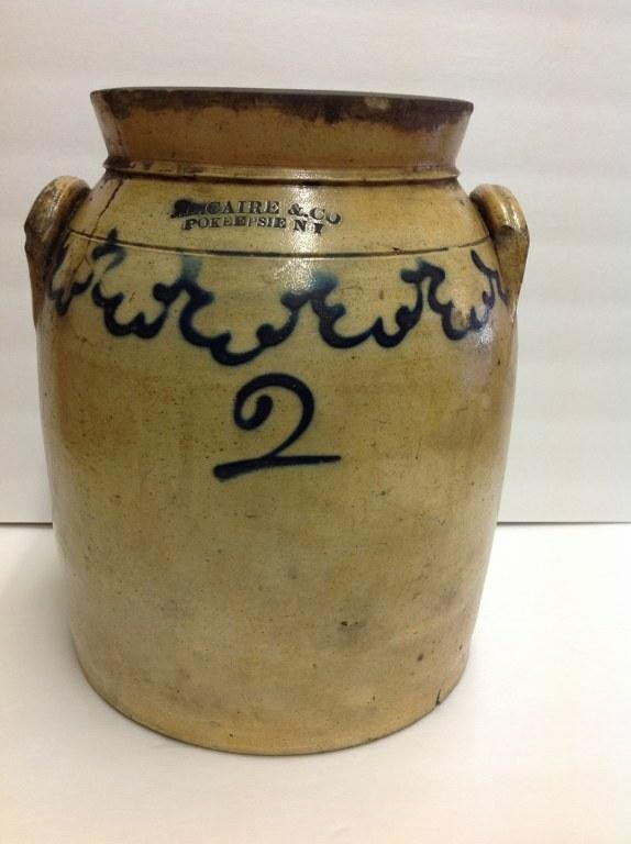 J B CAIRE & CO. POKEEPSIE NY 2 GALLON CROCK WITH OLD