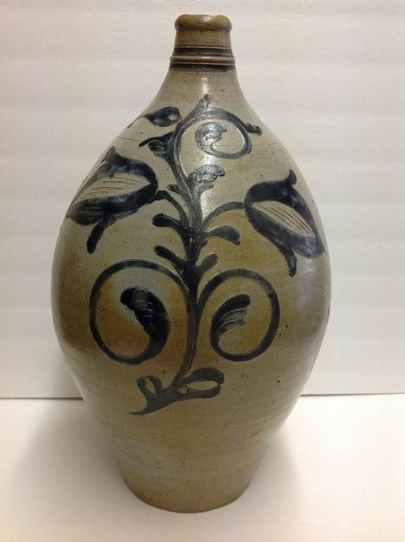 EARLY OVOID DECORATED STONEWARE JUG, WITH DECORATION