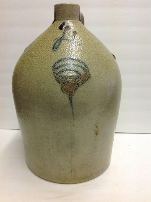 4 GALLON BLUE DECORATED STONEWARE JUG, SURFACE WEAR TO