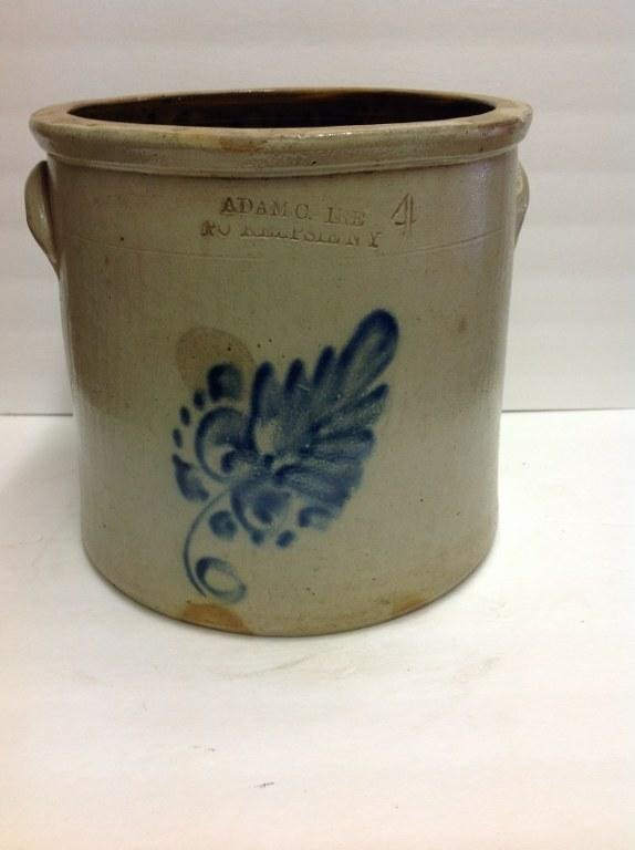 ADAM CAIRE PO'KEEPSIE NY 4 GALLON BLUE DECORATED