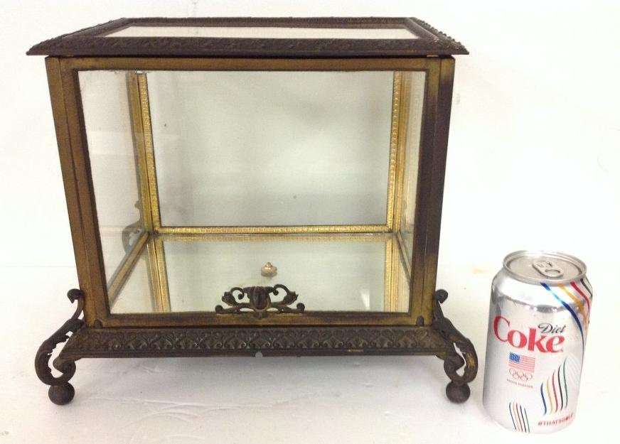 CIRCA 1880'S BRONZE TABLE TOP DISPLAY CASE WITH FANCY