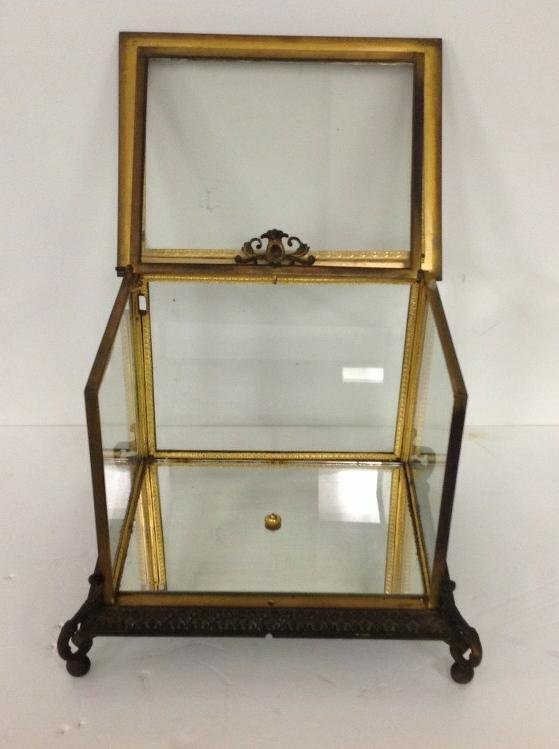 CIRCA 1880'S BRONZE TABLE TOP DISPLAY CASE WITH FANCY - 4