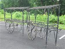 (2) CUSTOM IRON FRENCH FLOWER CARTS, NICE OVERALL