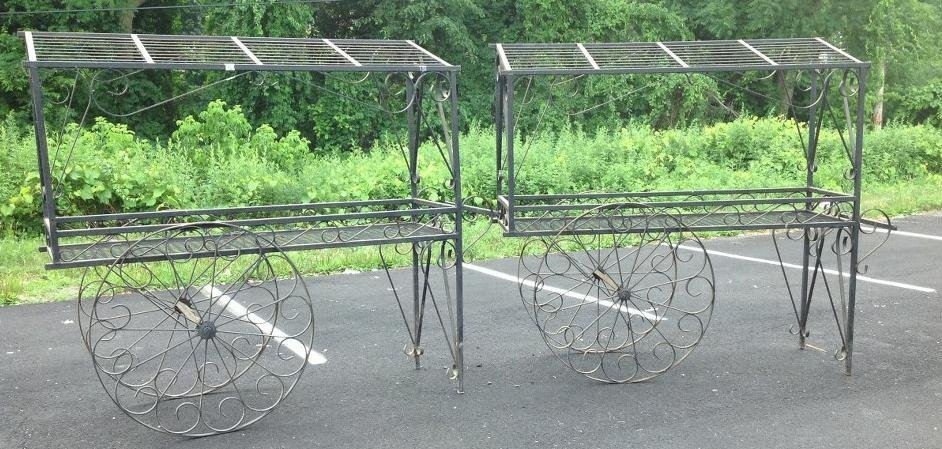 (2) CUSTOM IRON FRENCH FLOWER CARTS, NICE OVERALL - 3