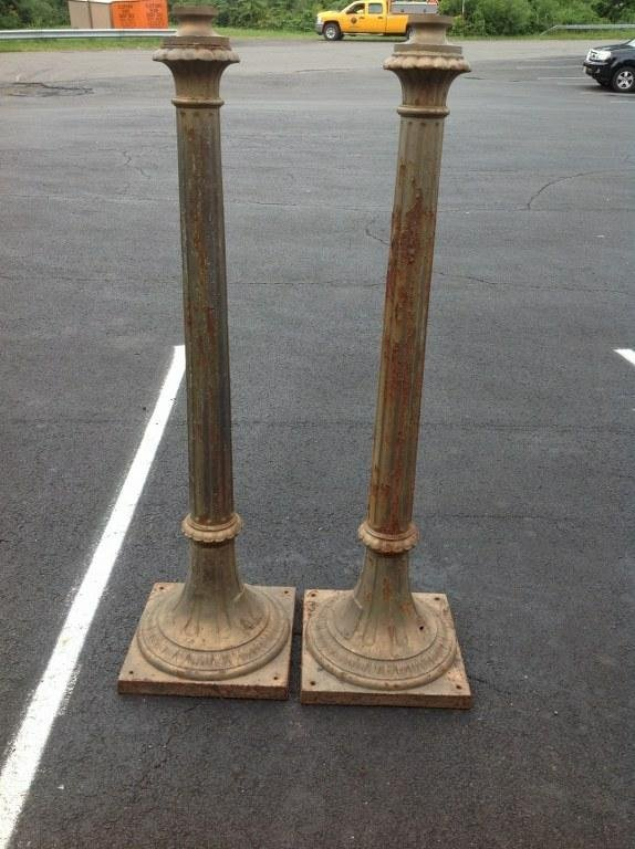 PAIR CAST IRON LAMP BASES, 52.5 HEIGHT, BROOKLYN ESTATE
