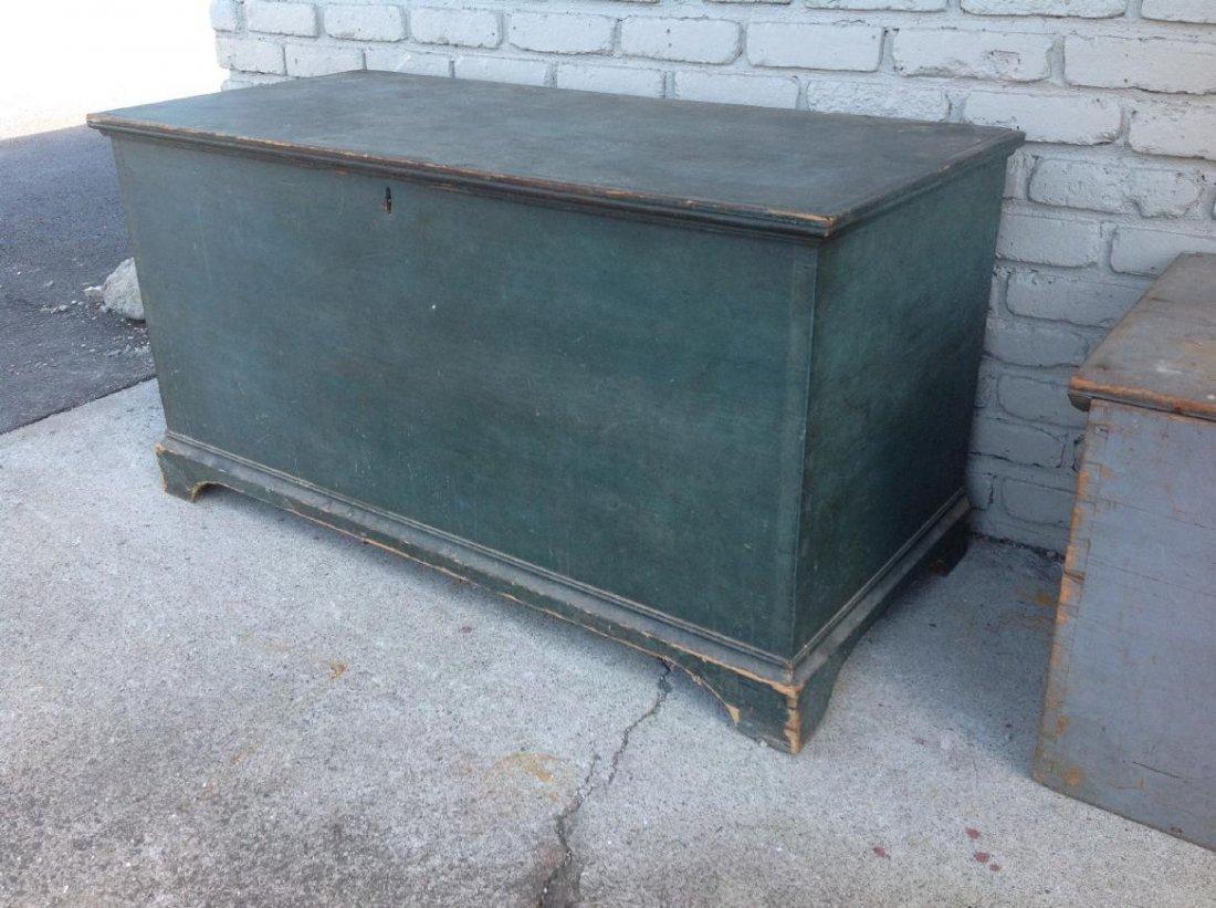 EARLY BLUE DOVETAILED BLANKET BOX ON BRACKET BASE, TILL - 2