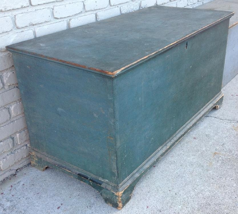EARLY BLUE DOVETAILED BLANKET BOX ON BRACKET BASE, TILL - 3