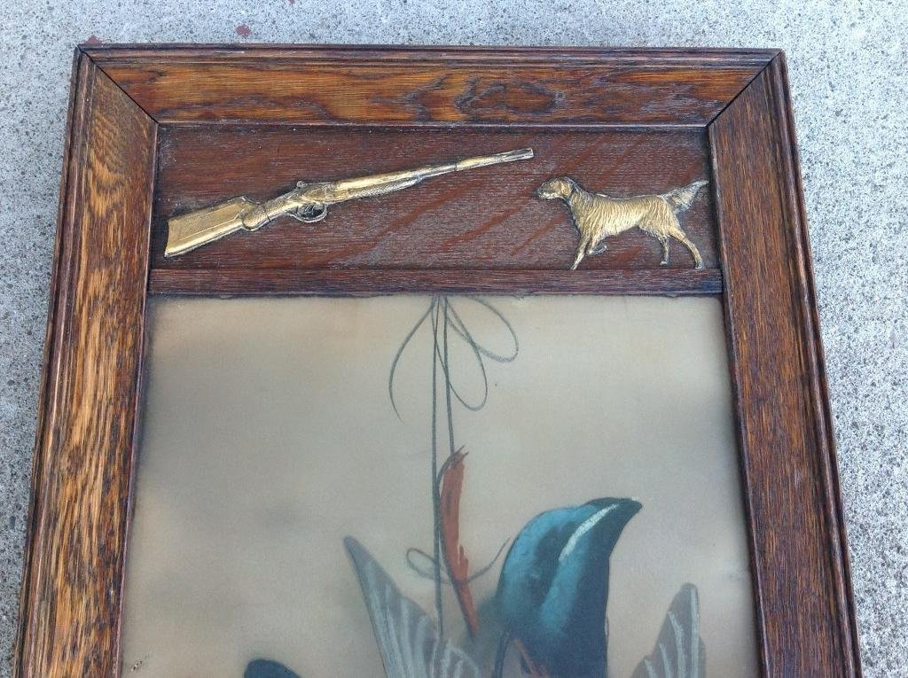 19TH C PASTEL DEAD GEESE IN PERIOD OAK FRAME WITH - 3