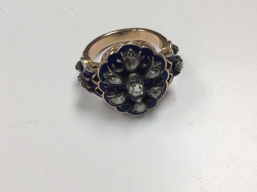 10K GOLD & SILVER MOURNING RING WITH ROSE CUT DIAMONDS,