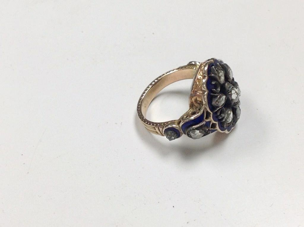 10K GOLD & SILVER MOURNING RING WITH ROSE CUT DIAMONDS, - 2