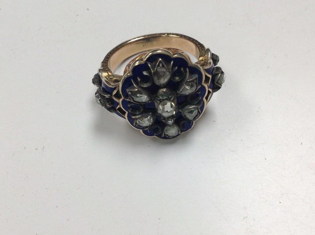 10K GOLD & SILVER MOURNING RING WITH ROSE CUT DIAMONDS, - 3