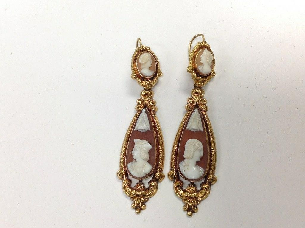 PAIR 14K GOLD TURN OF THE CENTURY CAMEO DROP EARRINGS,