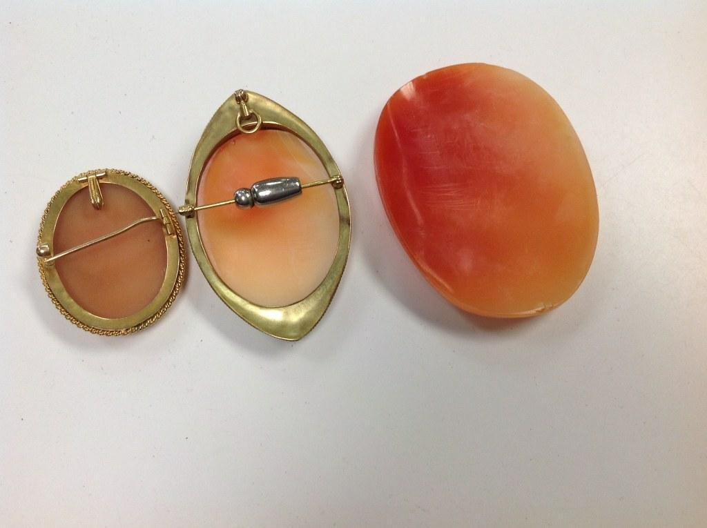 (3) CAMEOS INCLUDING (2) 14K GOLD, NICE ESTATE - 2