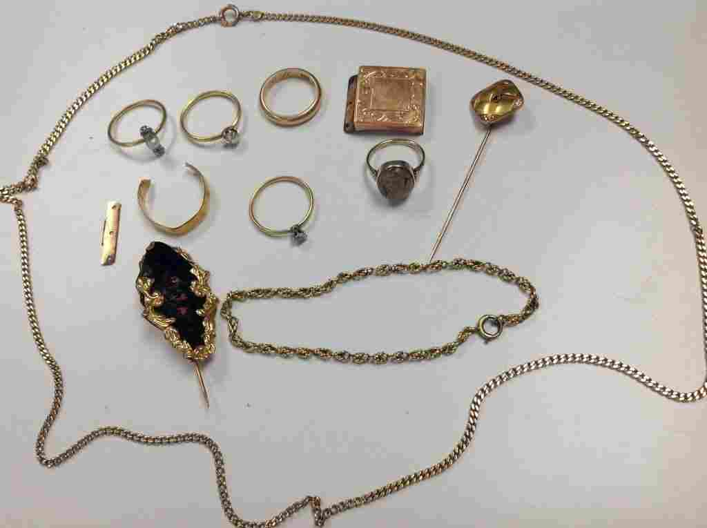 LOT ASSORTED 14K GOLD JEWELRY, INCL. WEARABLE & SCRAP
