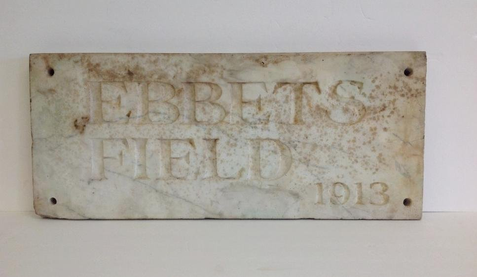 IMPORTANT EBBETS FIELD 1913 MARBLE PLAQUE FROM THE