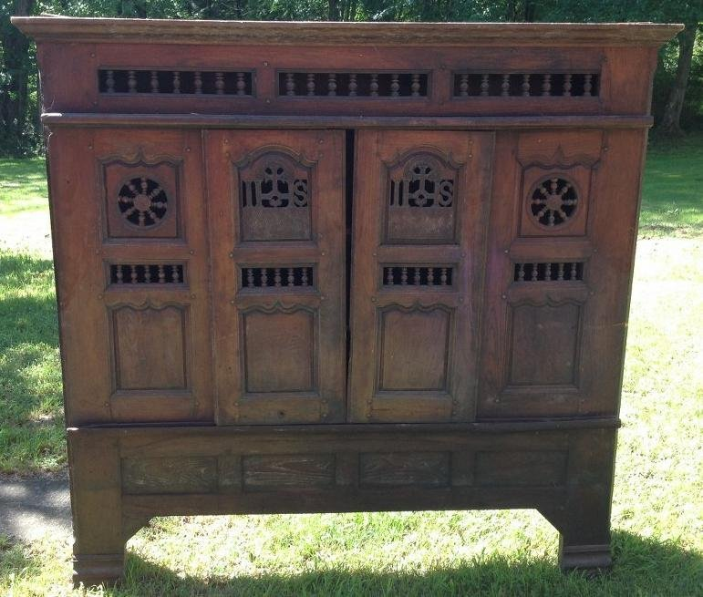LARGE OAK CABINET FROM CHURCH WITH SLIDING DOORS,