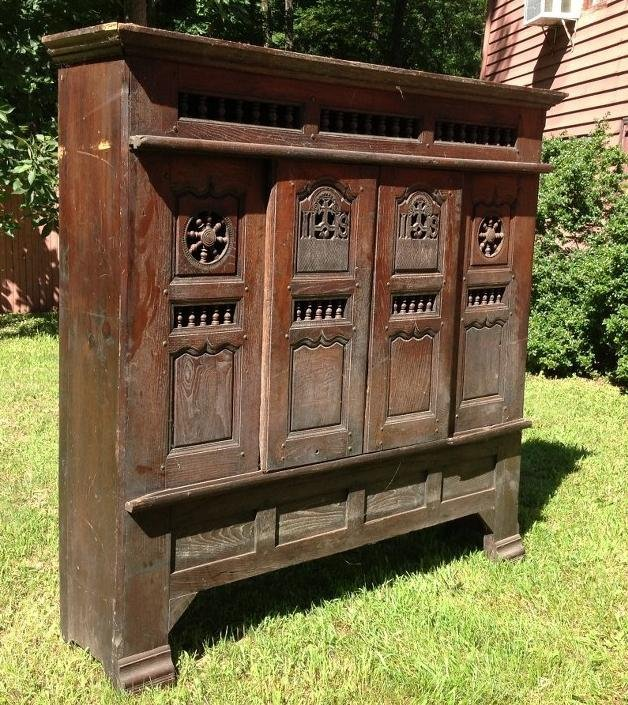 LARGE OAK CABINET FROM CHURCH WITH SLIDING DOORS, - 2