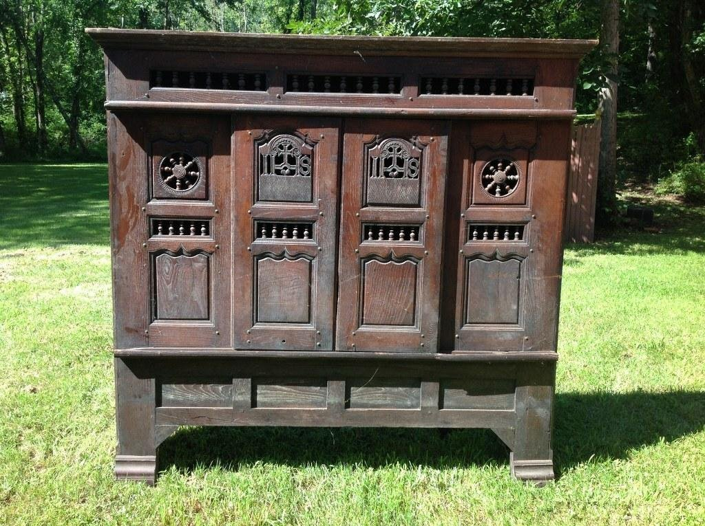 LARGE OAK CABINET FROM CHURCH WITH SLIDING DOORS, - 3
