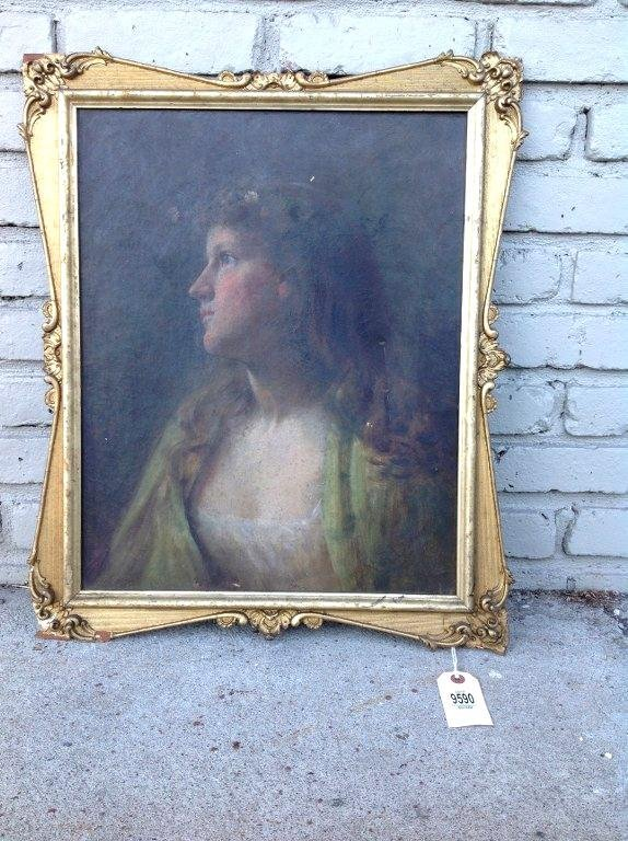 O/C CIRCA 1900 PORTRAIT OF A WOMAN, SIGNED ILLEGIBLY