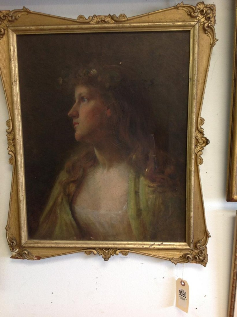 O/C CIRCA 1900 PORTRAIT OF A WOMAN, SIGNED ILLEGIBLY - 4