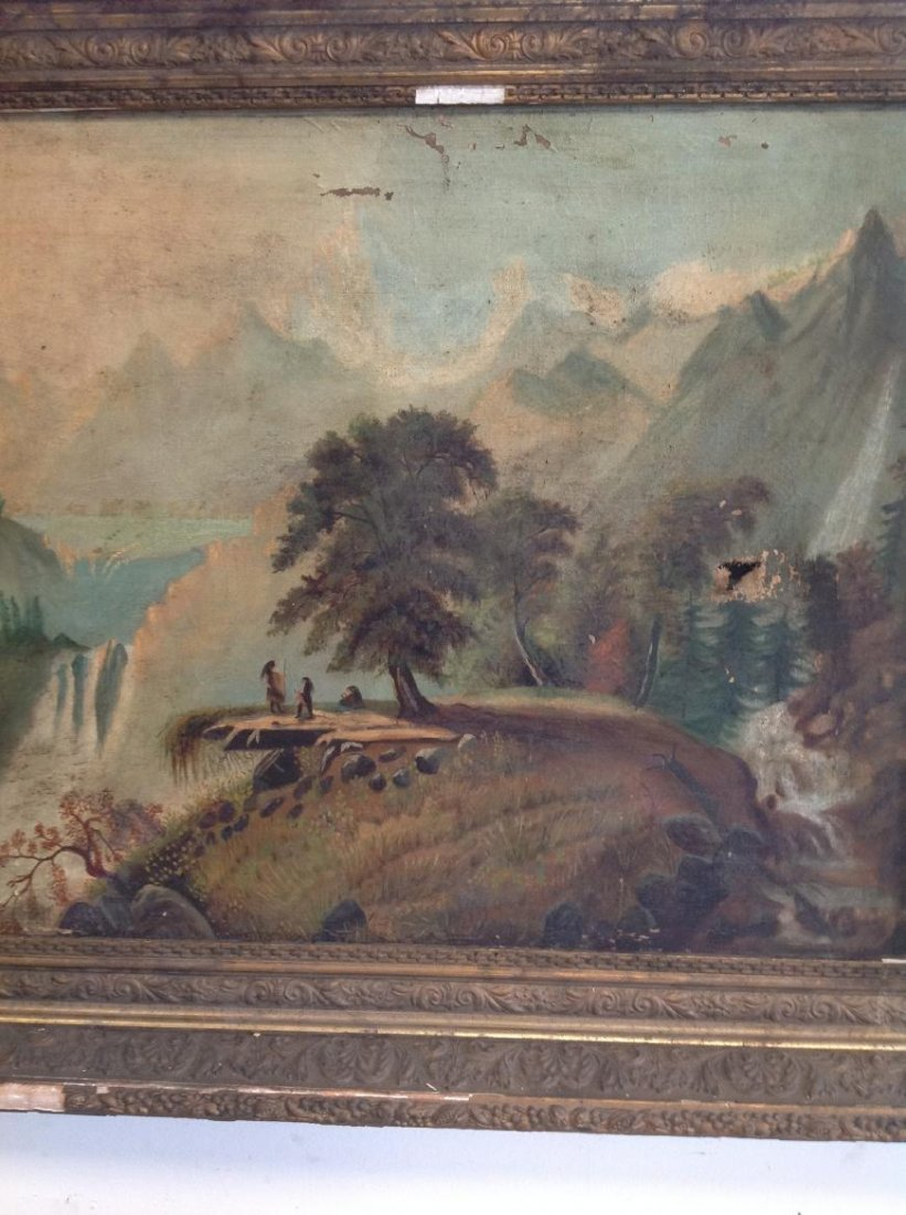 19TH CENTURY O/C LANDSCAPE WITH NATIVE AMERICANS - 2