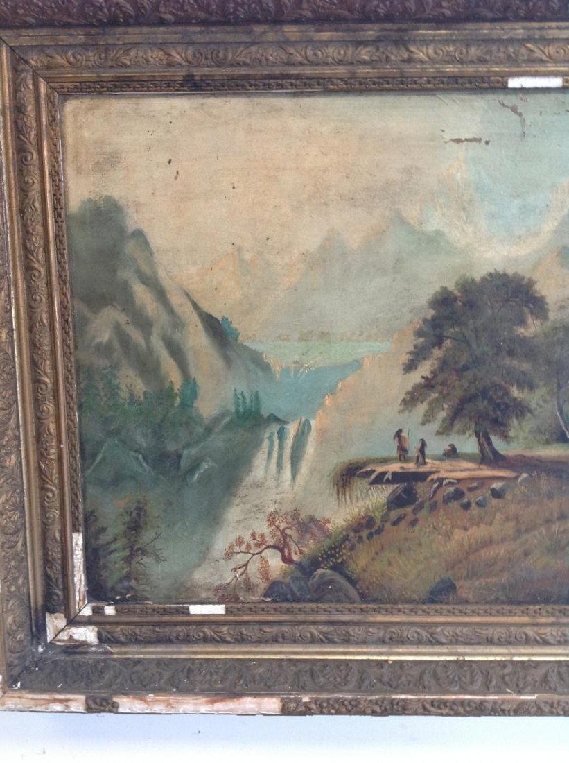 19TH CENTURY O/C LANDSCAPE WITH NATIVE AMERICANS - 4