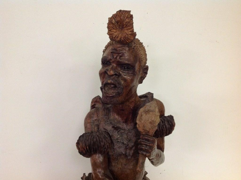 """32"""" HIGH AFRICAN (?) CARVED FIGURE OF MAN, NOT SURE OF - 2"""