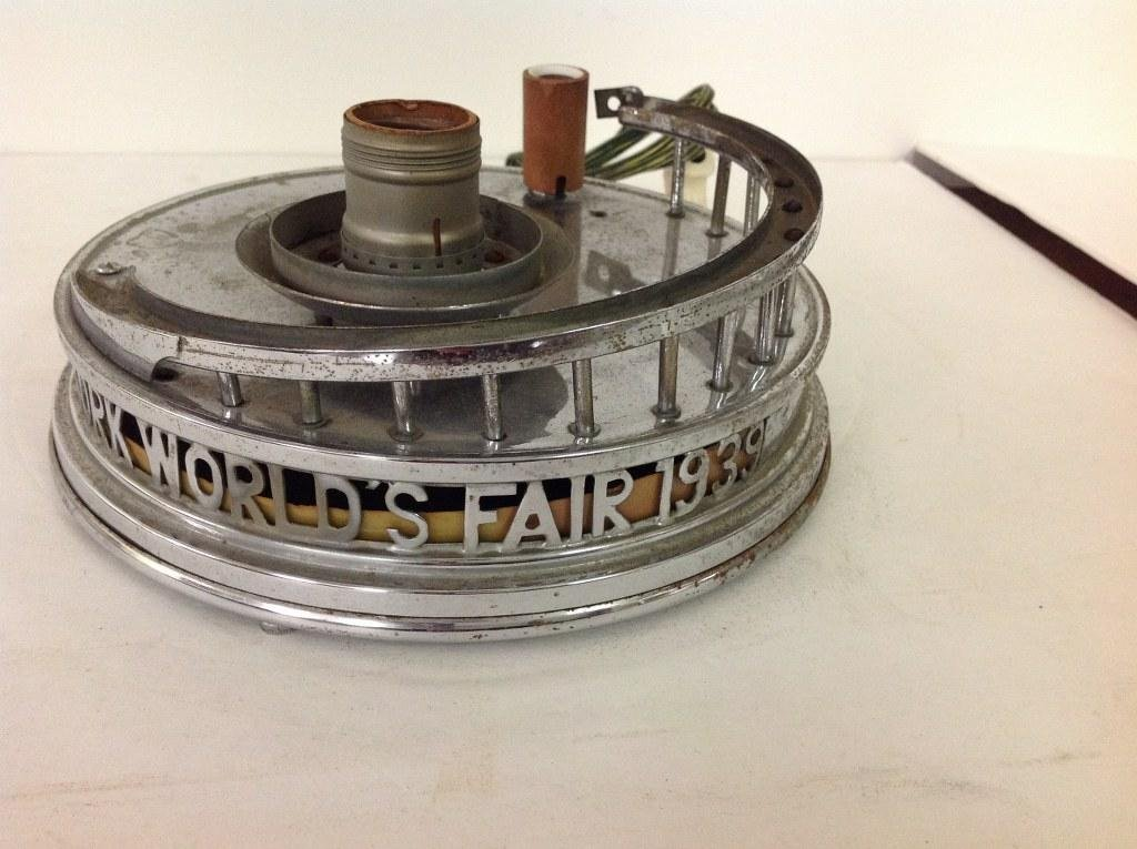 1939 WORLDS FAIR CHROME LAMP BASE FOR PERISPHERE &