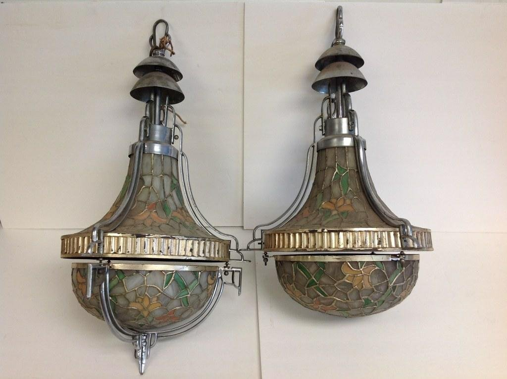 PAIR OF DECO LEADED GLASS HANGING LIGHTS, LIGHT
