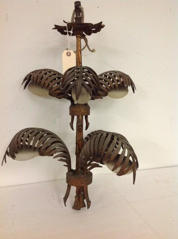 DECORATIVE IRON GILT HANGING LIGHT WITH PALM FRONDS AND