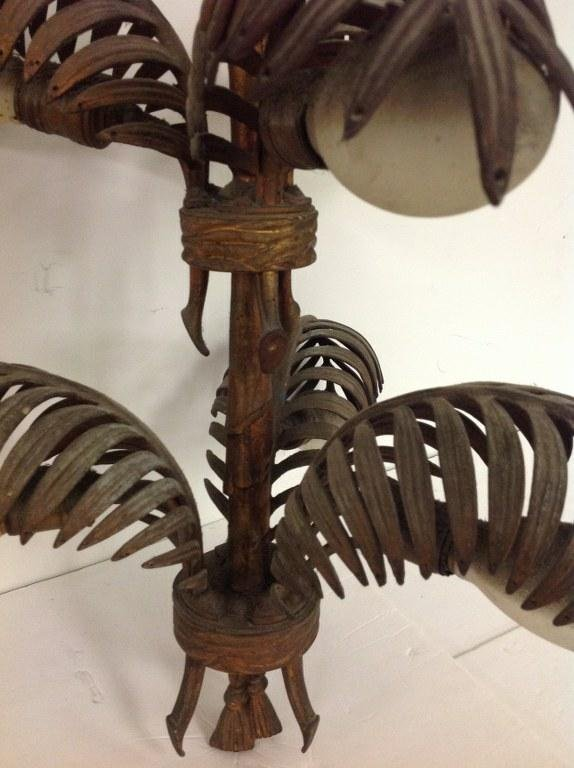 DECORATIVE IRON GILT HANGING LIGHT WITH PALM FRONDS AND - 3