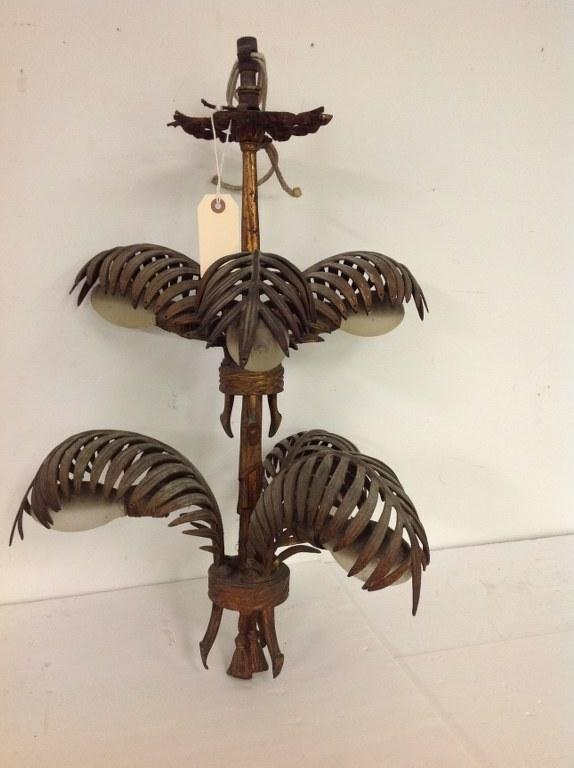 DECORATIVE IRON GILT HANGING LIGHT WITH PALM FRONDS AND - 5