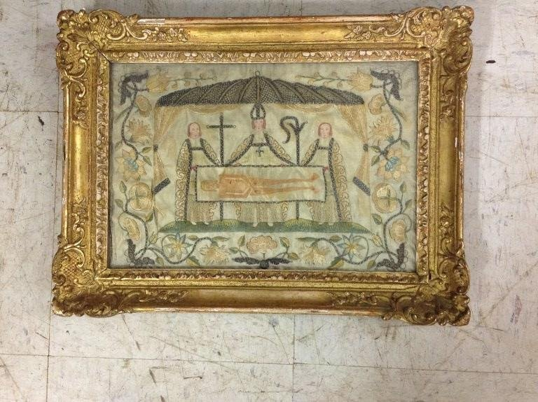 "18TH C. SAINT SUAIRE EMBROIDERY, FRAME MEASURES 14"" X"