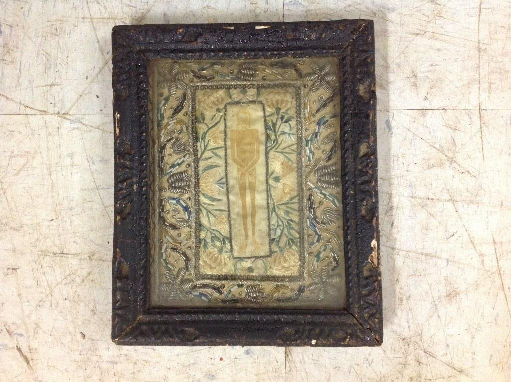 18TH C. FRENCH SAINT SUAIRE EMBROIDERY, FRAME MEASURES