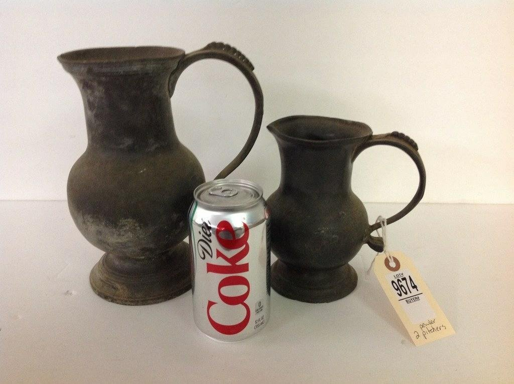 """2 18TH C. PEWTER PITCHERS, LARGER ONE IS 8 1/2"""" HIGH,"""