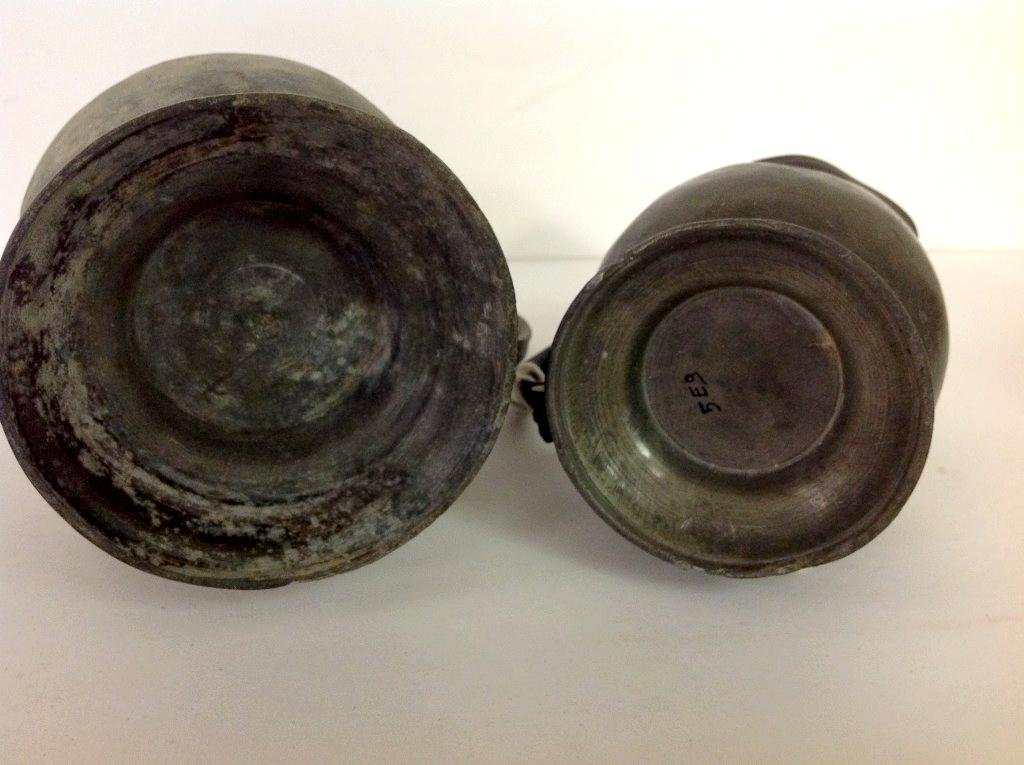 """2 18TH C. PEWTER PITCHERS, LARGER ONE IS 8 1/2"""" HIGH, - 3"""